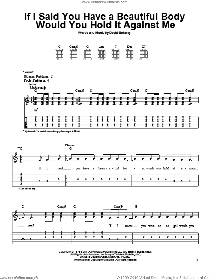 If I Said You Have A Beautiful Body Would You Hold It Against Me sheet music for guitar solo (easy tablature) by David Bellamy