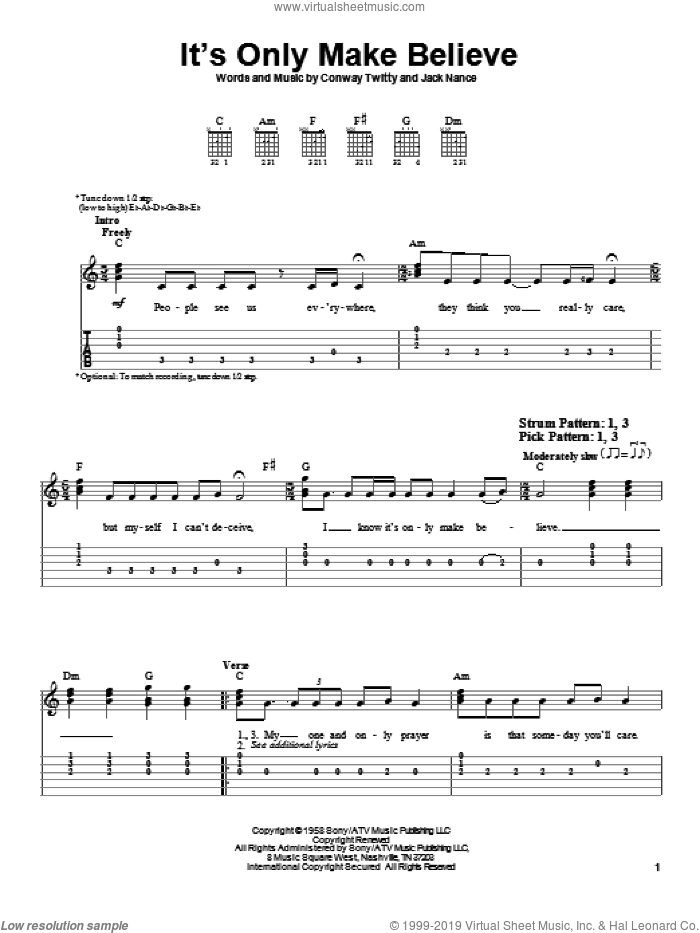 It's Only Make Believe sheet music for guitar solo (easy tablature) by Jack Nance and Conway Twitty. Score Image Preview.
