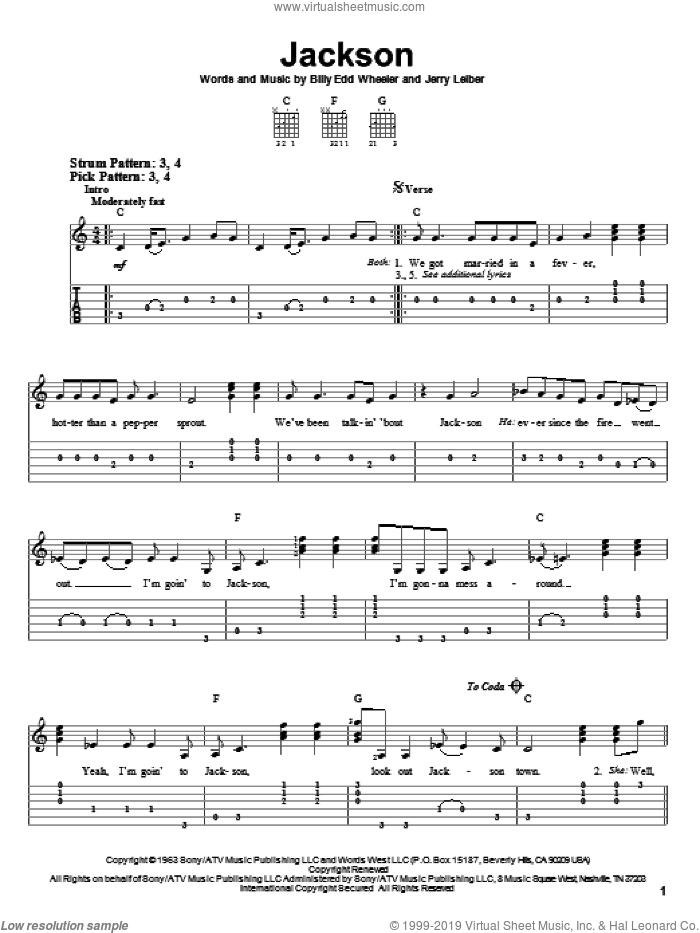 Jackson sheet music for guitar solo (easy tablature) by Jerry Leiber, Johnny Cash, Johnny Cash & June Carter, June Carter and Billy Edd Wheeler. Score Image Preview.