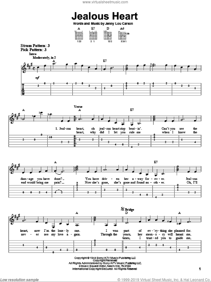 Jealous Heart sheet music for guitar solo (easy tablature) by Jenny Lou Carson