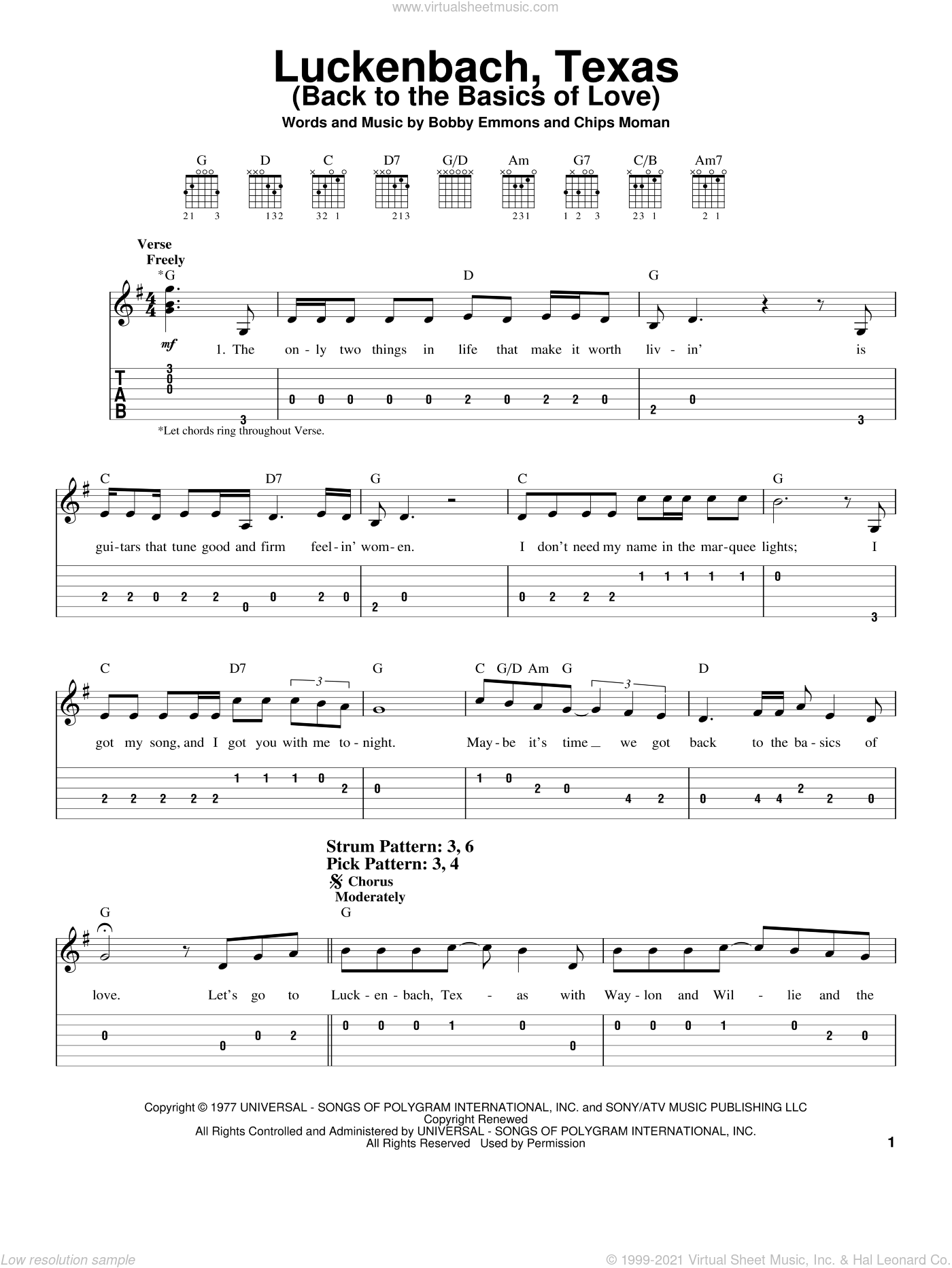 Luckenbach, Texas (Back To The Basics Of Love) sheet music for guitar solo (easy tablature) by Chips Moman and Waylon Jennings. Score Image Preview.