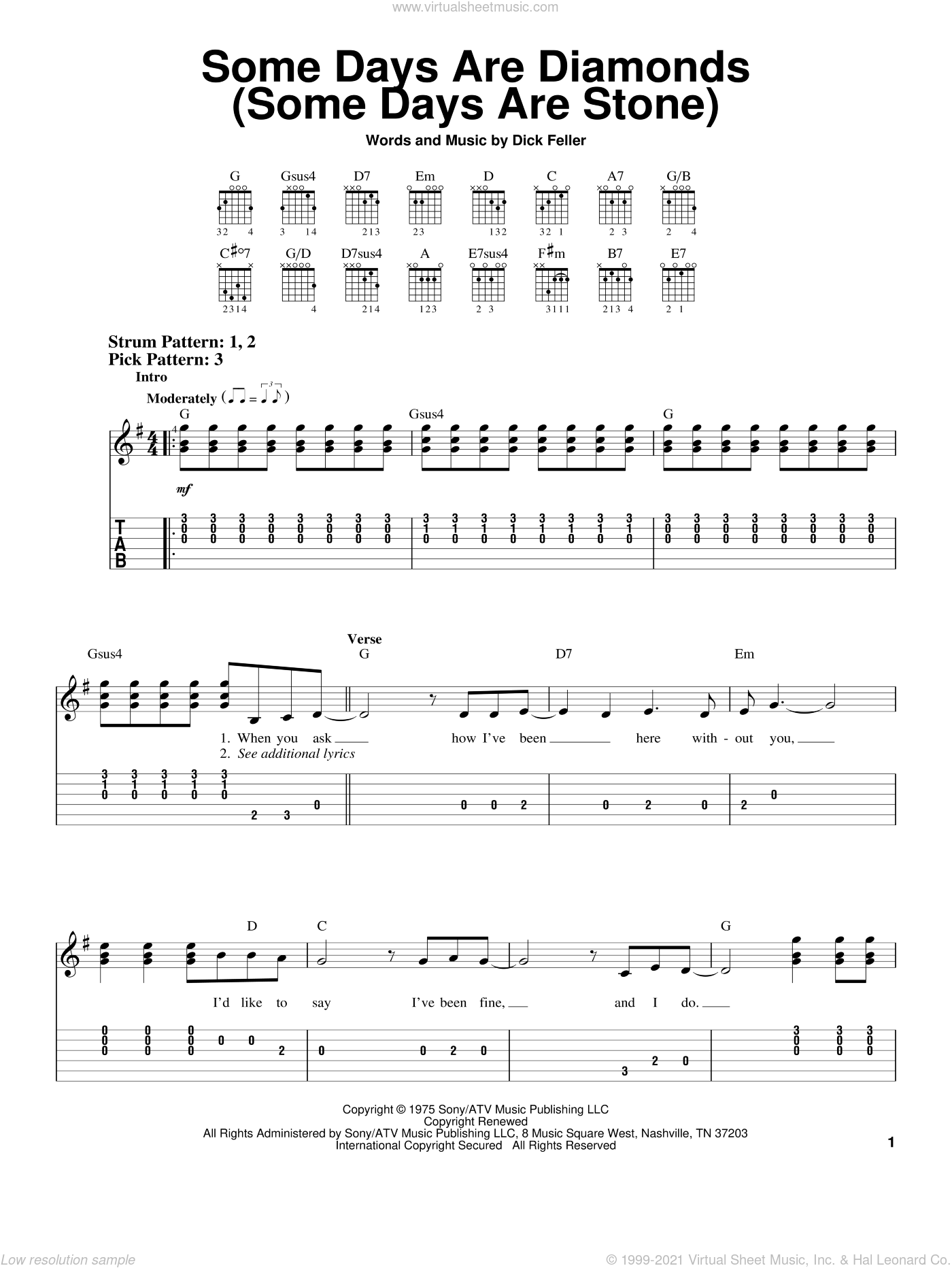 Some Days Are Diamonds (Some Days Are Stone) sheet music for guitar solo (easy tablature) by Dick Feller