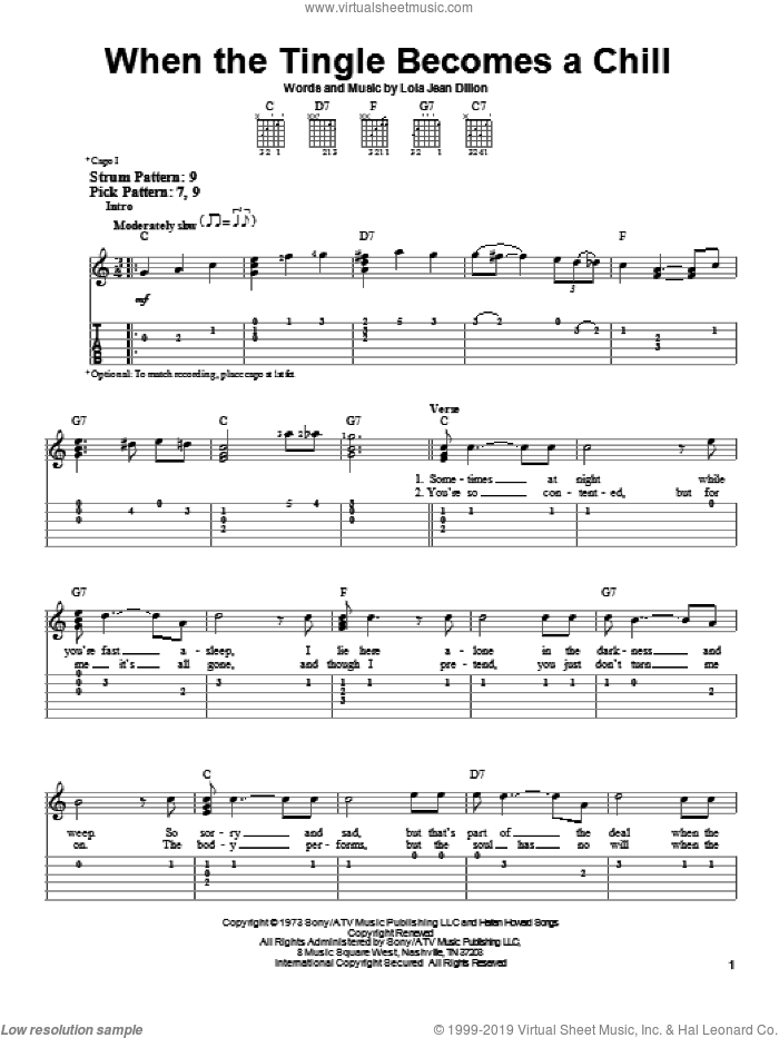 When The Tingle Becomes A Chill sheet music for guitar solo (easy tablature) by Loretta Lynn and Lola Jean Dillon, easy guitar (easy tablature)