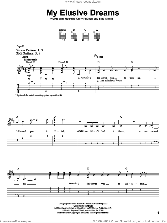 My Elusive Dreams sheet music for guitar solo (easy tablature) by Curly Putman, David Houston, Tammy Wynette and Billy Sherrill. Score Image Preview.