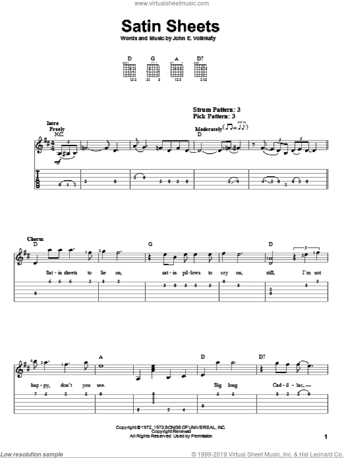 Satin Sheets sheet music for guitar solo (easy tablature) by Jeanne Pruett and John E. Volinkaty, easy guitar (easy tablature)