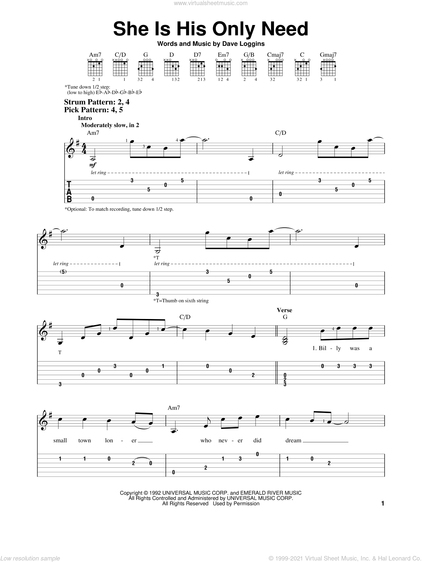 She Is His Only Need sheet music for guitar solo (easy tablature) by Wynonna Judd and Dave Loggins, wedding score, easy guitar (easy tablature)