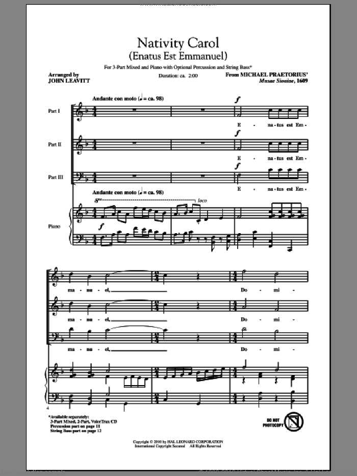 Nativity Carol (Enatus Est Emmanuel) sheet music for choir (chamber ensemble) by Michael Praetorius and John Leavitt, intermediate. Score Image Preview.
