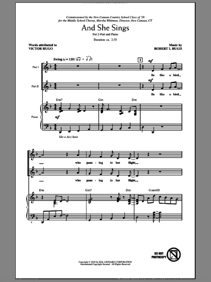And She Sings sheet music for choir (2-Part) by Robert Hugh, intermediate duet