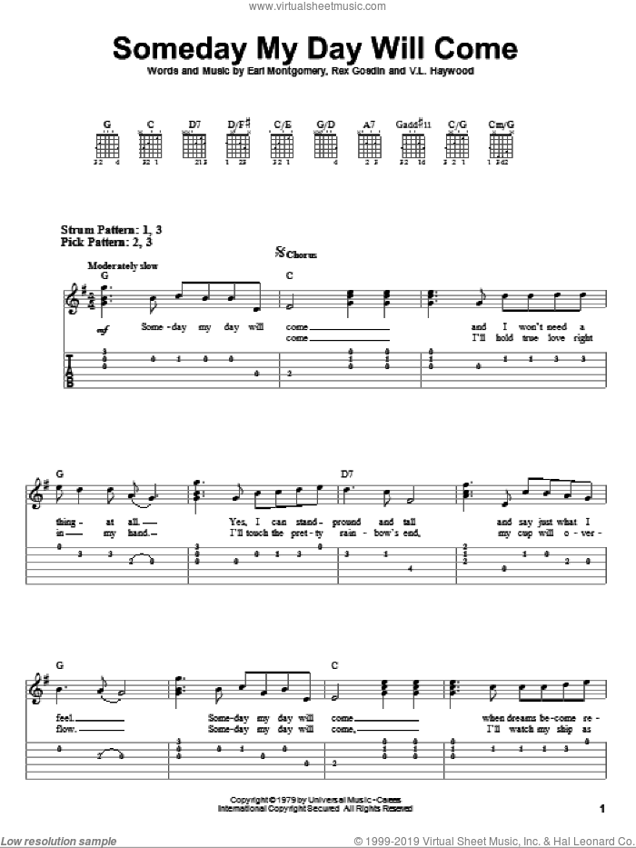 Someday My Day Will Come sheet music for guitar solo (easy tablature) by Leon Haywood, George Jones and Earl Montgomery. Score Image Preview.