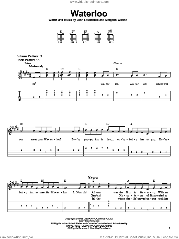Waterloo sheet music for guitar solo (easy tablature) by Marijohn Wilkin