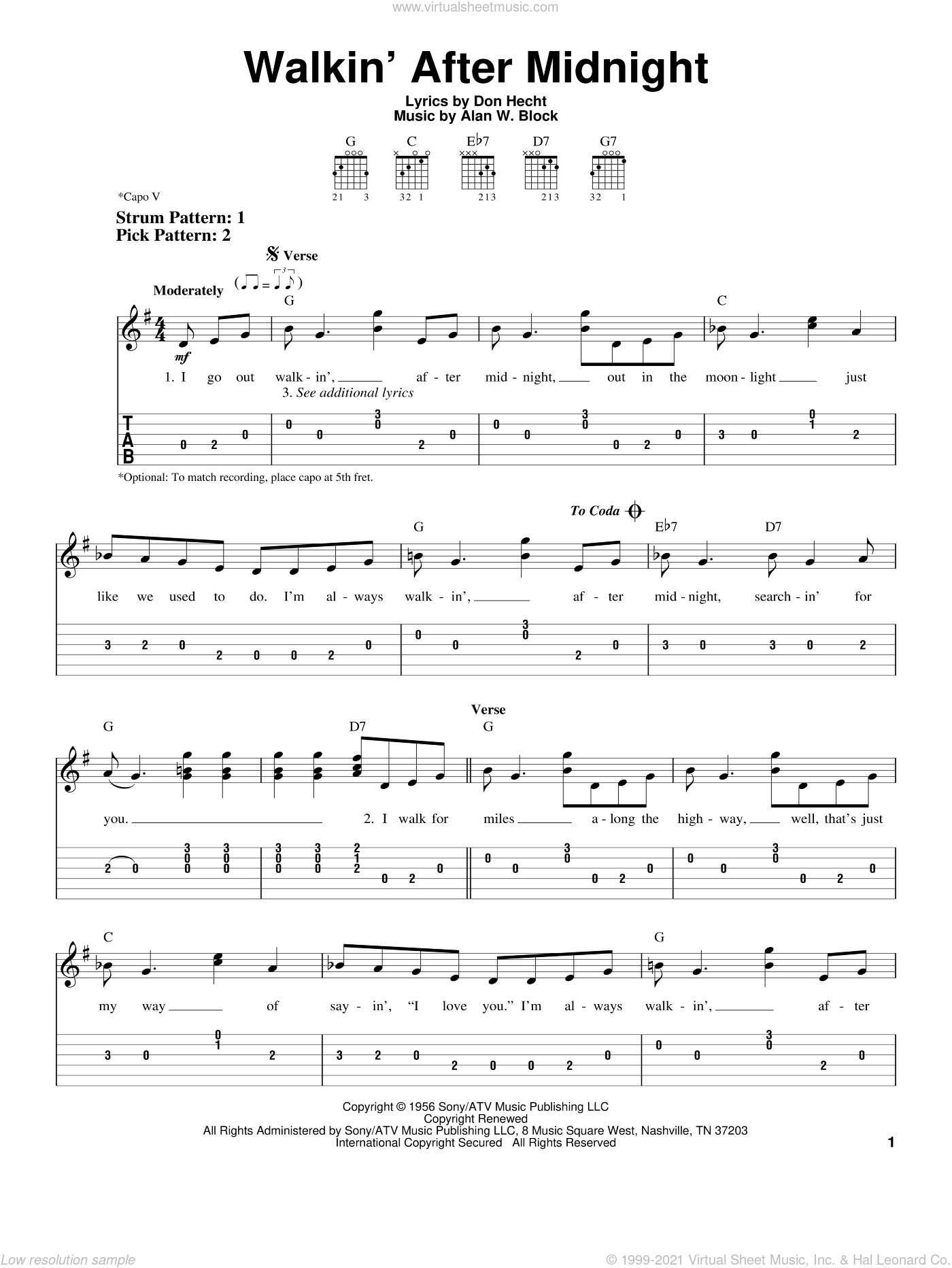Walkin' After Midnight sheet music for guitar solo (easy tablature) by Don Hecht and Patsy Cline. Score Image Preview.