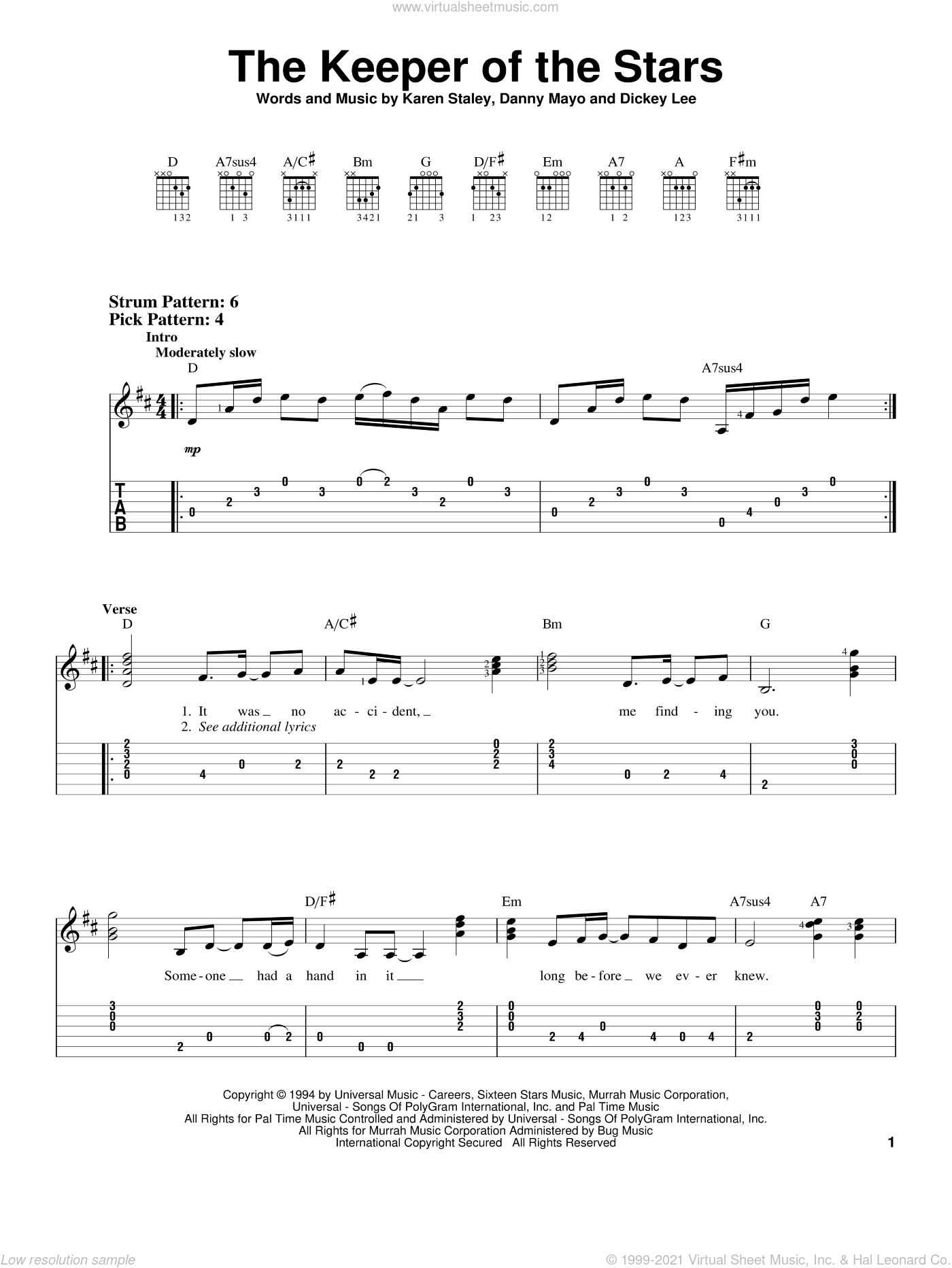 The Keeper Of The Stars sheet music for guitar solo (easy tablature) by Tracy Byrd, Danny Mayo, Dickey Lee and Karen Staley, wedding score, easy guitar (easy tablature)