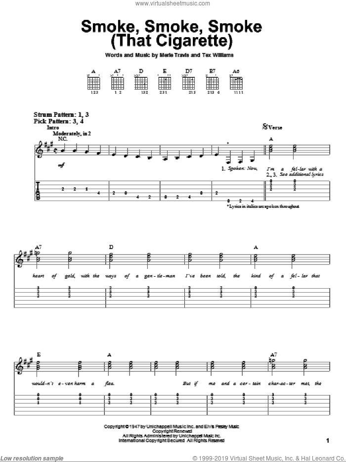 Smoke, Smoke, Smoke (That Cigarette) sheet music for guitar solo (easy tablature) by Tex Williams and Merle Travis, easy guitar (easy tablature)