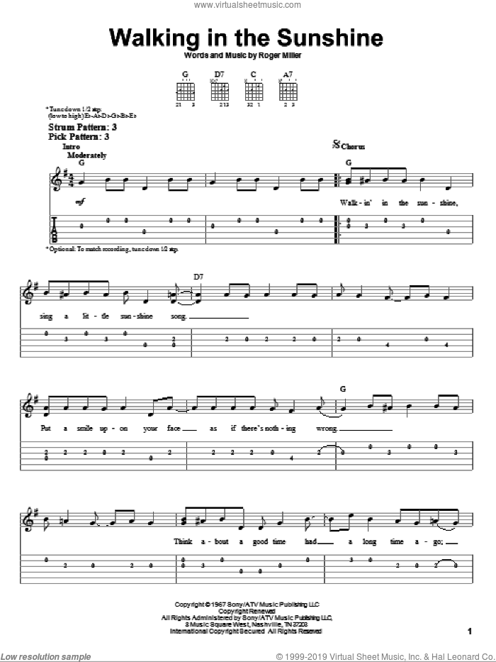 Walking In The Sunshine sheet music for guitar solo (easy tablature) by Roger Miller. Score Image Preview.