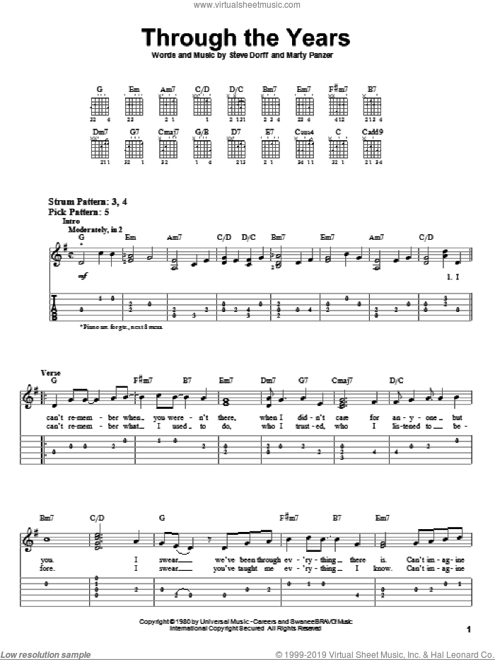 Through The Years sheet music for guitar solo (easy tablature) by Kenny Rogers, Marty Panzer and Steve Dorff, wedding score, easy guitar (easy tablature)