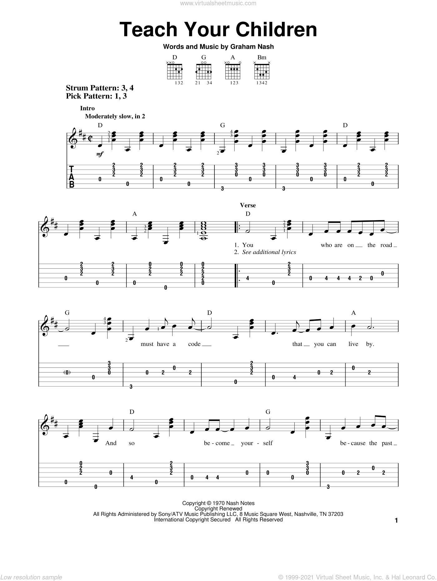 Teach Your Children sheet music for guitar solo (easy tablature) by Crosby, Stills, Nash & Young, Crosby, Stills & Nash and Graham Nash, easy guitar (easy tablature)