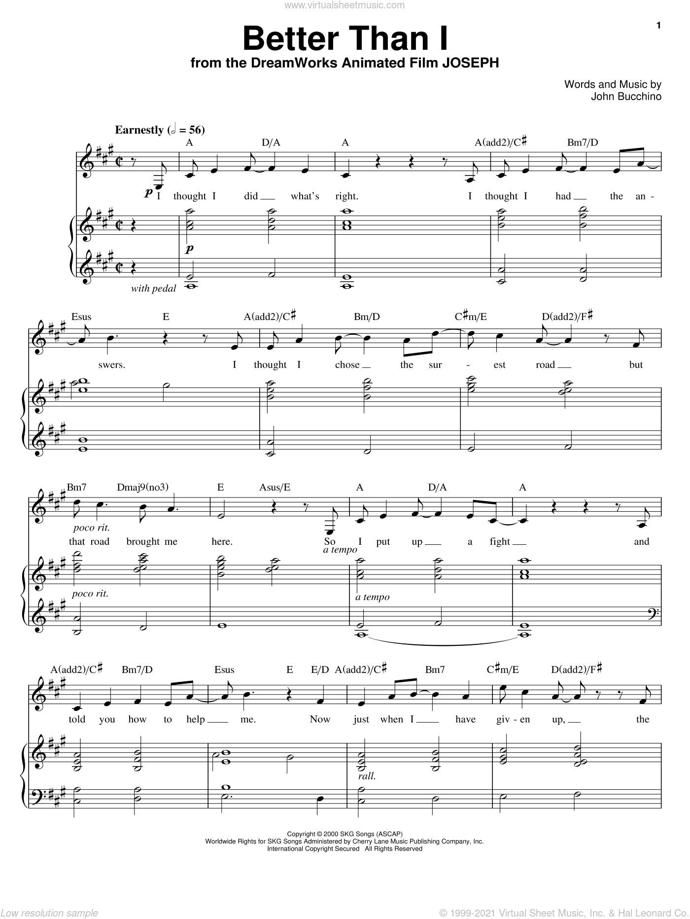 Better Than I sheet music for voice, piano or guitar by John Bucchino, intermediate skill level