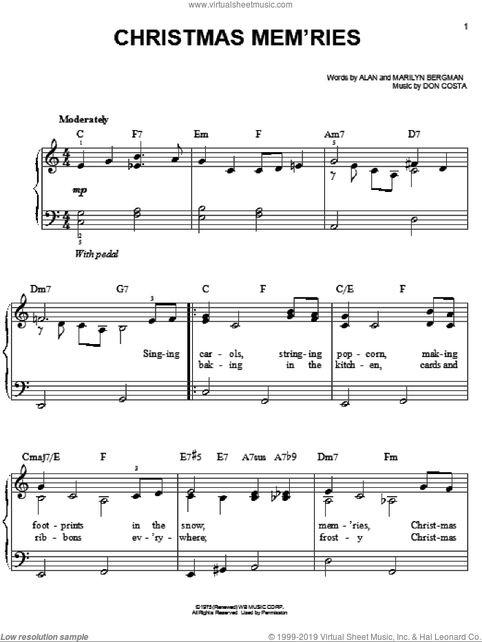 Christmas Mem'ries sheet music for piano solo by Frank Sinatra, Barbra Streisand, Alan Bergman, Don Costa and Marilyn Bergman, easy skill level