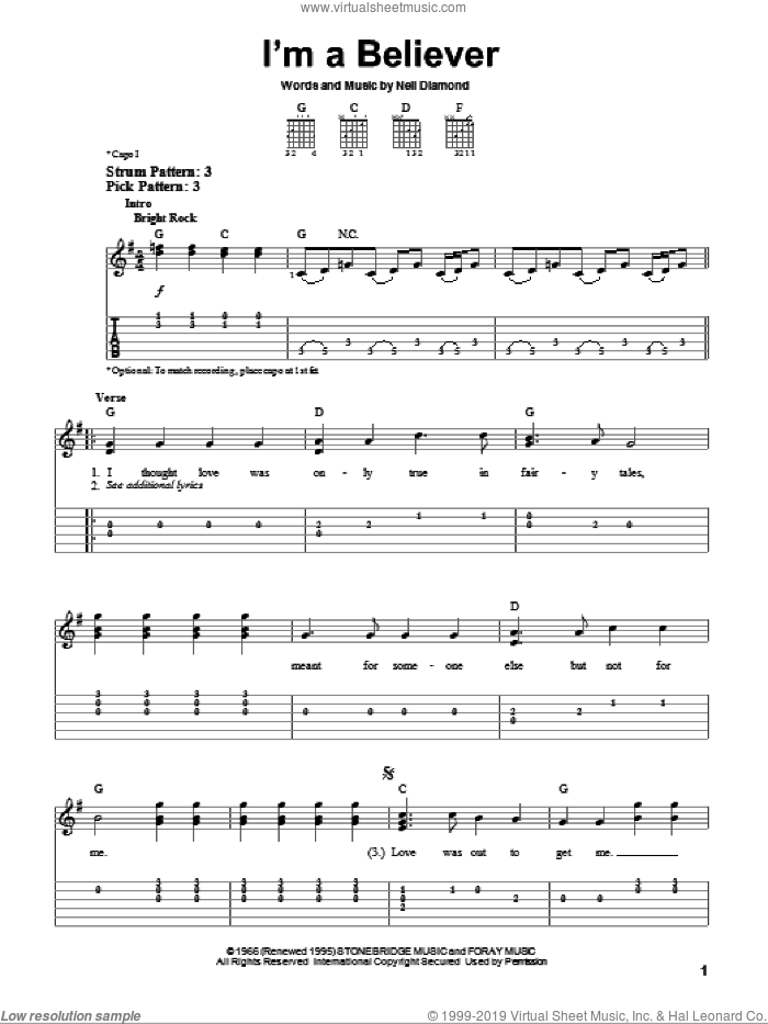I'm A Believer sheet music for guitar solo (easy tablature) by The Monkees and Neil Diamond, easy guitar (easy tablature)