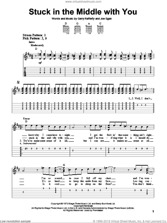 Stuck In The Middle With You sheet music for guitar solo (easy tablature) by Stealers Wheel, Gerry Rafferty and Joe Egan, easy guitar (easy tablature)