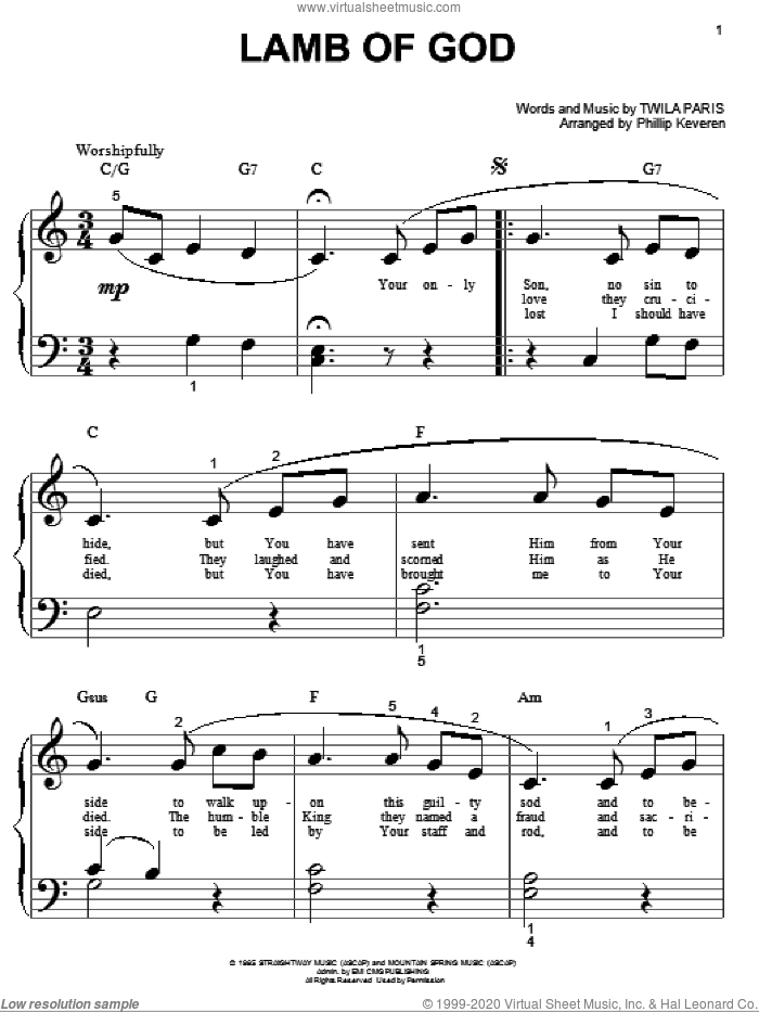 Lamb Of God sheet music for piano solo (big note book) by Twila Paris and Phillip Keveren, easy piano (big note book)