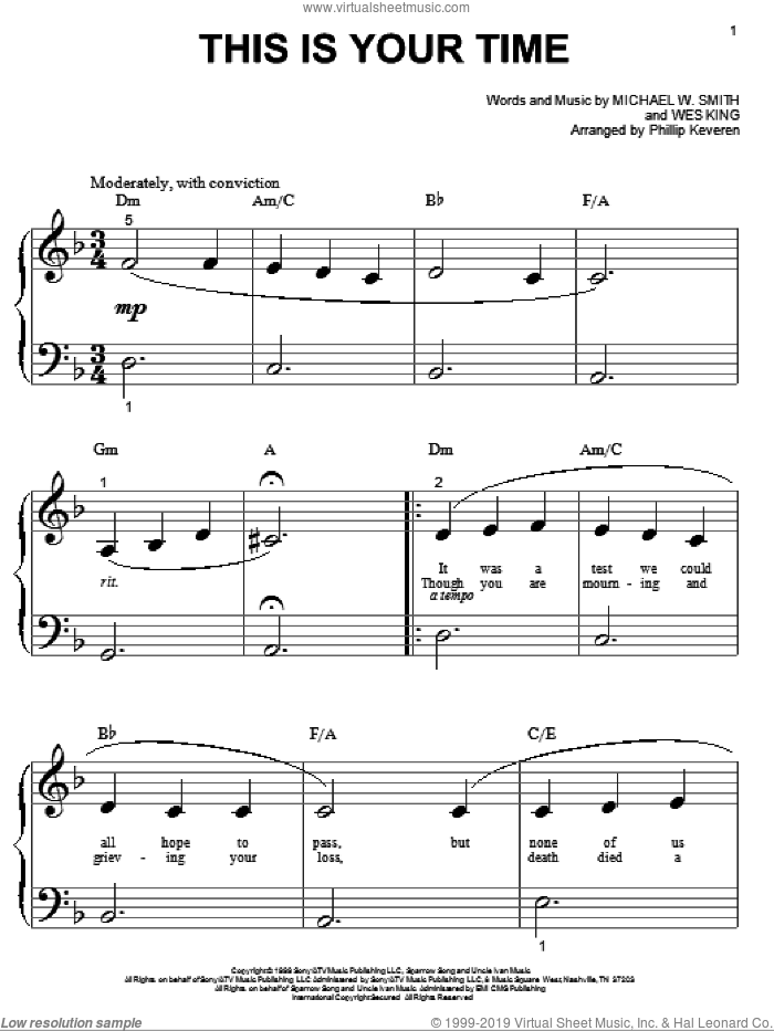 This Is Your Time sheet music for piano solo (big note book) by Wes King, Phillip Keveren and Michael W. Smith. Score Image Preview.