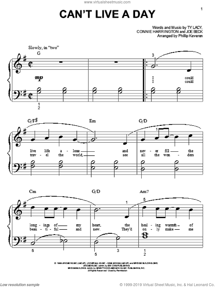 Can't Live A Day sheet music for piano solo (big note book) by Avalon, Phillip Keveren, Connie Harrington, Joe Beck and Ty Lacy, wedding score, easy piano (big note book). Score Image Preview.