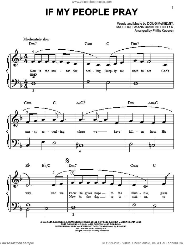 If My People Pray sheet music for piano solo (big note book) by Avalon, Phillip Keveren, Doug McKelvey, Kent Hooper and Matt Huesmann, easy piano (big note book)