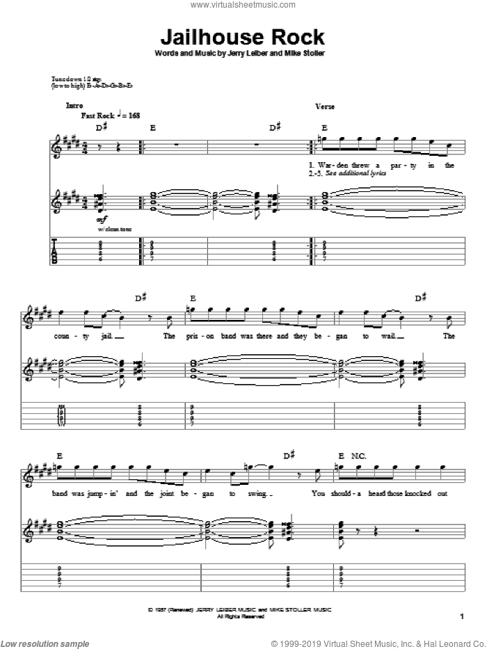 Jailhouse Rock sheet music for guitar (tablature, play-along) by Elvis Presley, Leiber & Stoller, Jerry Leiber and Mike Stoller, intermediate skill level