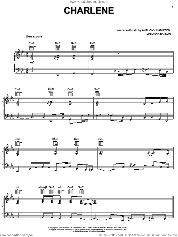 Charlene sheet music for voice, piano or guitar by Anthony Hamilton and Mark Batson, intermediate skill level