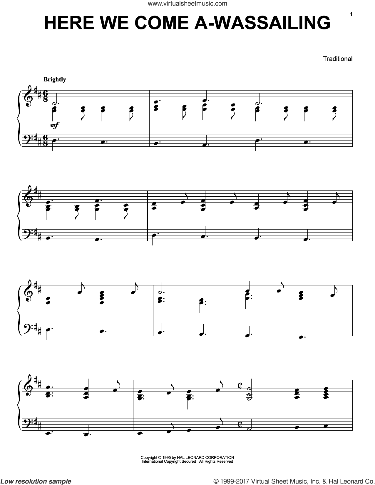 Here We Come A-Wassailing, (intermediate) sheet music for piano solo, intermediate skill level