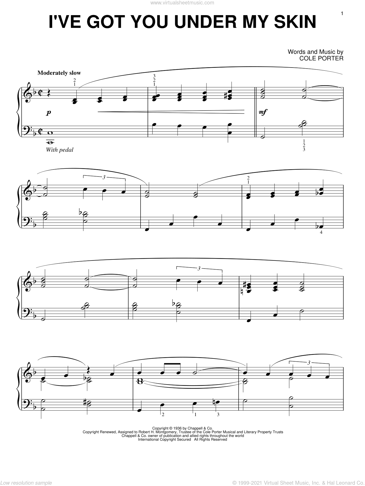 I've Got You Under My Skin sheet music for piano solo by Cole Porter, intermediate skill level