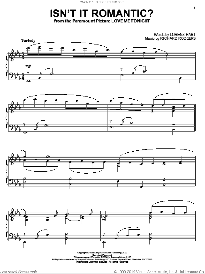 Isn't It Romantic? sheet music for piano solo by Rodgers & Hart, Lorenz Hart and Richard Rodgers, intermediate skill level