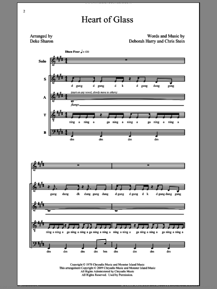 Heart Of Glass sheet music for choir (SATB) by Chris Stein, Blondie, Deborah Harry and Deke Sharon. Score Image Preview.