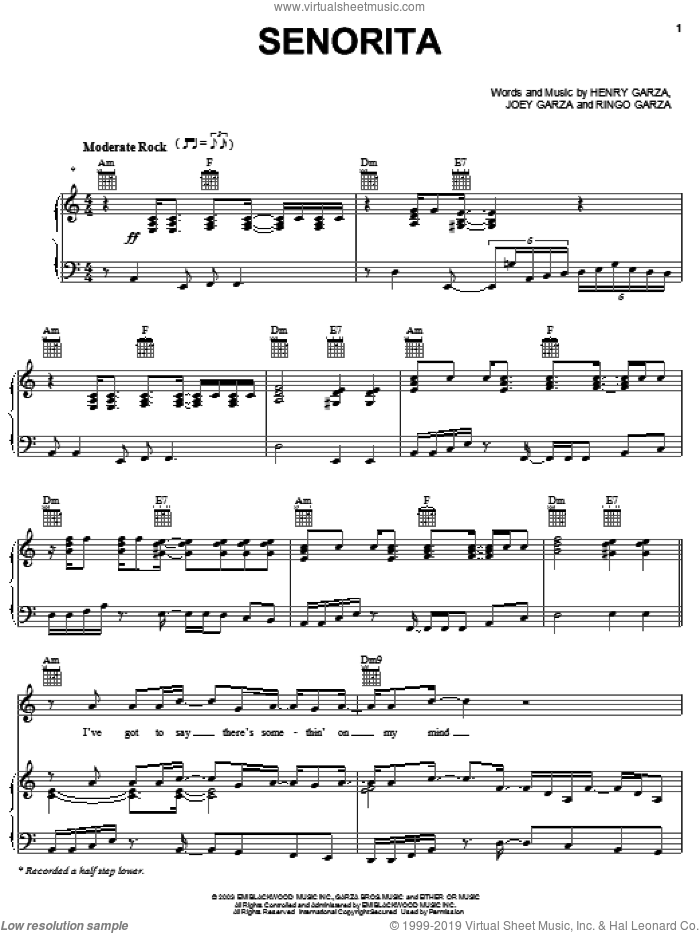 Senorita sheet music for voice, piano or guitar by Los Lonely Boys, intermediate. Score Image Preview.