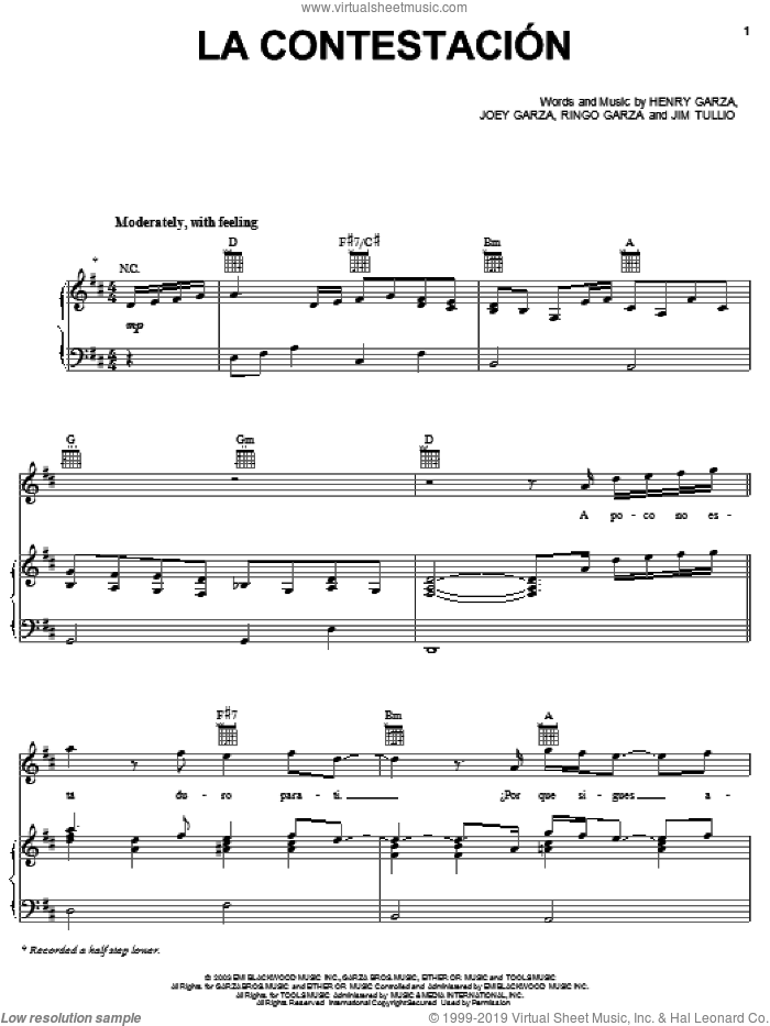 La Contestacion sheet music for voice, piano or guitar by Los Lonely Boys, Henry Garza, Jim Tullio, Joey Garza and Ringo Garza, intermediate