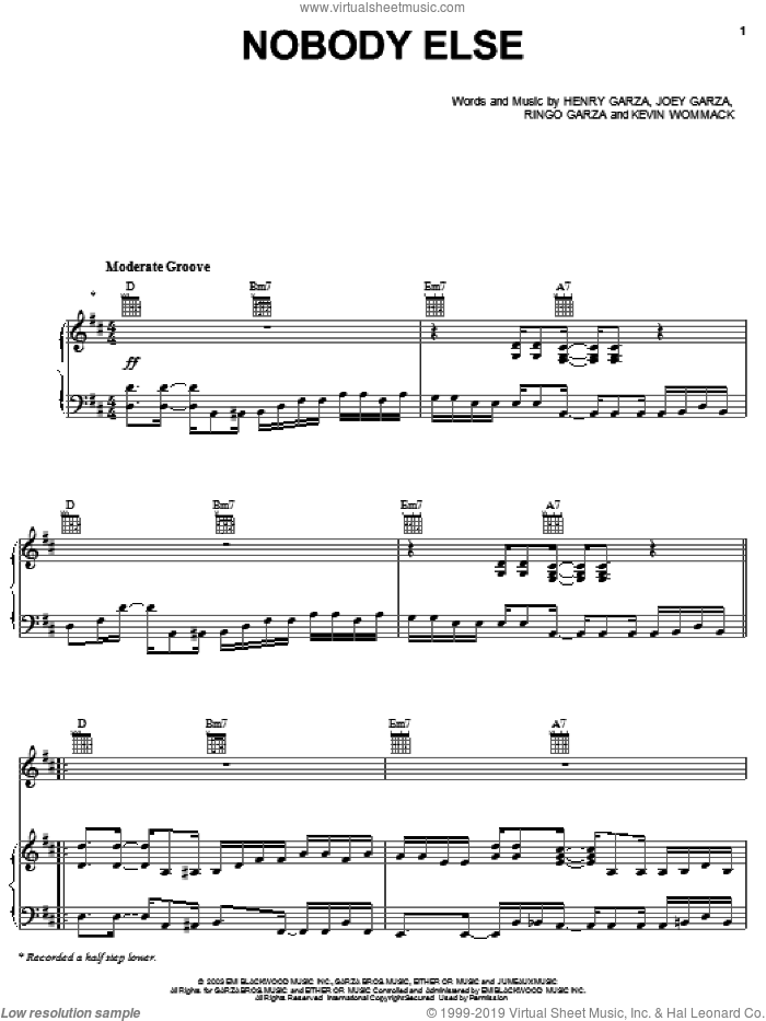Nobody Else sheet music for voice, piano or guitar by Los Lonely Boys, Henry Garza, Joey Garza, Kevin Wommack and Ringo Garza, intermediate skill level