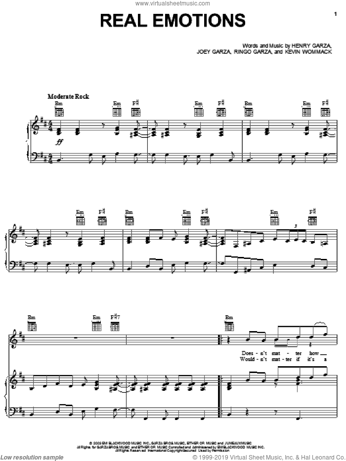 Real Emotions sheet music for voice, piano or guitar by Los Lonely Boys, Henry Garza, Joey Garza, Kevin Wommack and Ringo Garza, intermediate. Score Image Preview.