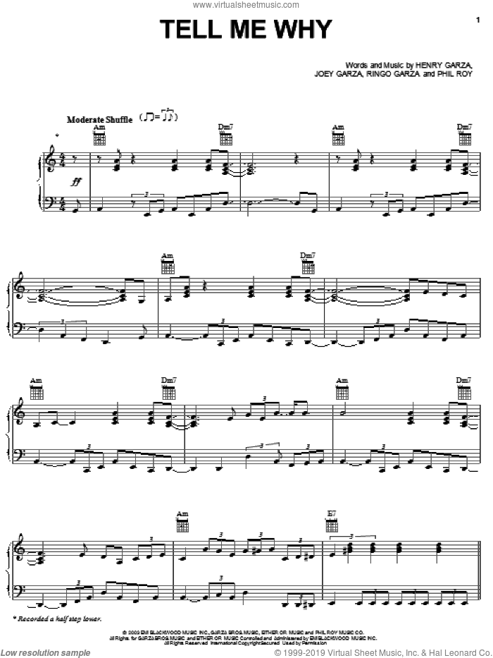 Tell Me Why sheet music for voice, piano or guitar by Los Lonely Boys, intermediate. Score Image Preview.
