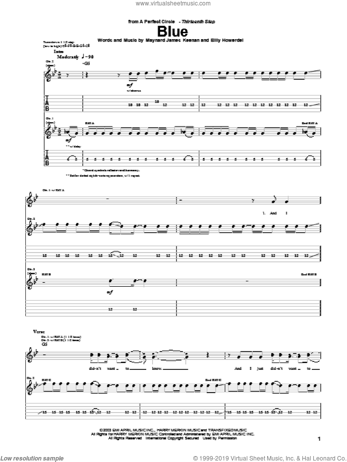 Blue sheet music for guitar (tablature) by A Perfect Circle and Maynard James Keenan, intermediate. Score Image Preview.