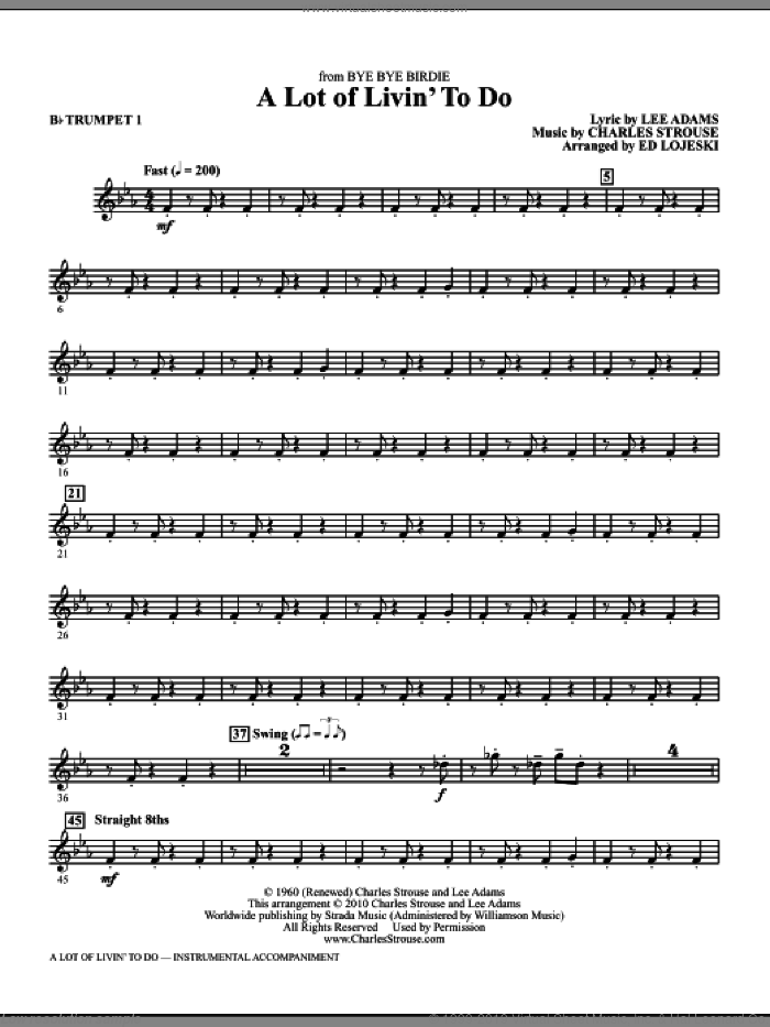 A Lot Of Livin' To Do (complete set of parts) sheet music for orchestra/band by Charles Strouse, Lee Adams and Ed Lojeski, intermediate. Score Image Preview.