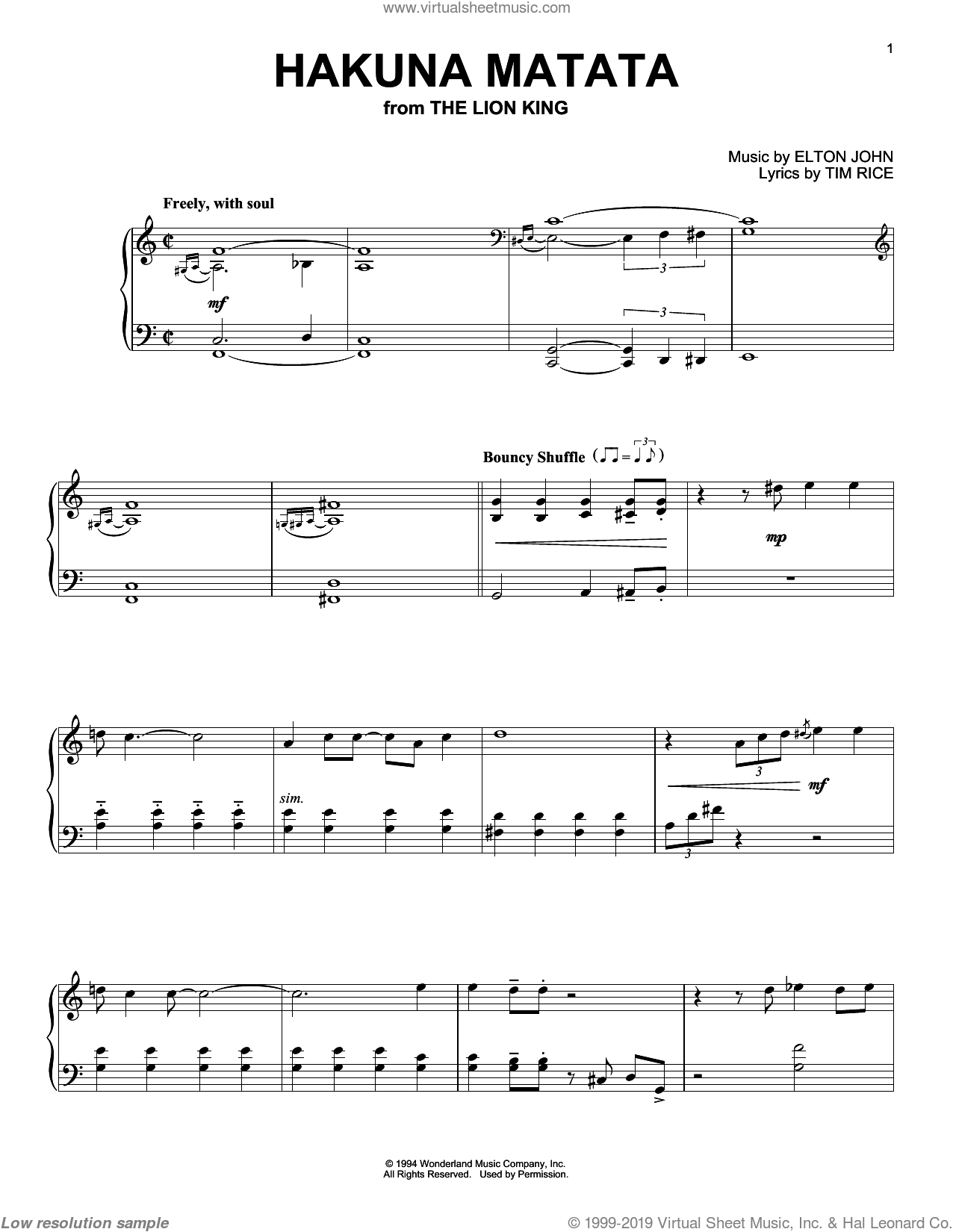 Hakuna Matata sheet music for piano solo by Tim Rice and Elton John. Score Image Preview.