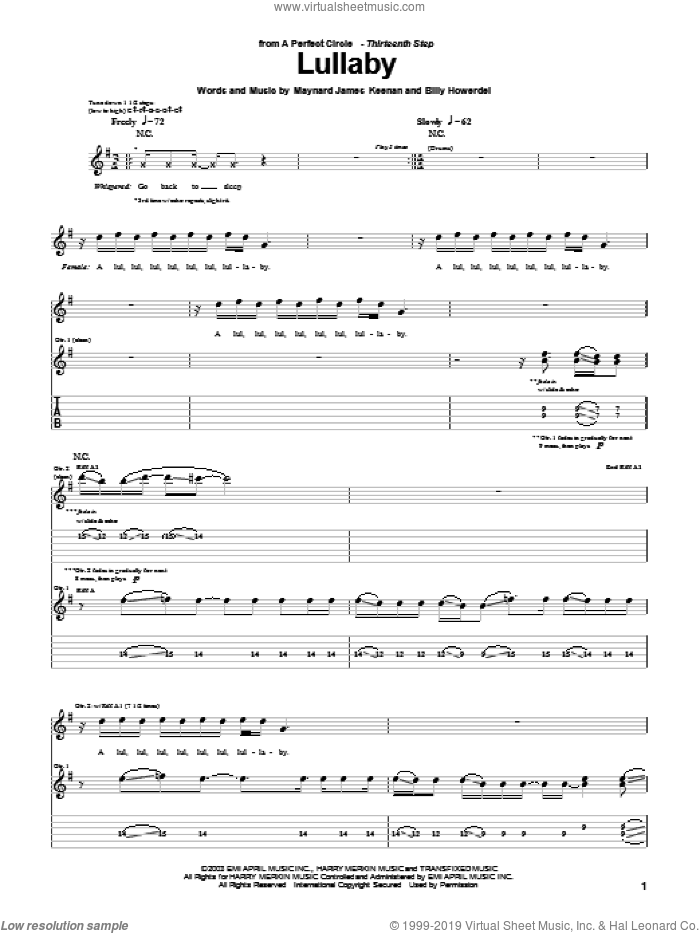 Lullaby sheet music for guitar (tablature) by A Perfect Circle, Billy Howerdel and Maynard James Keenan, intermediate skill level
