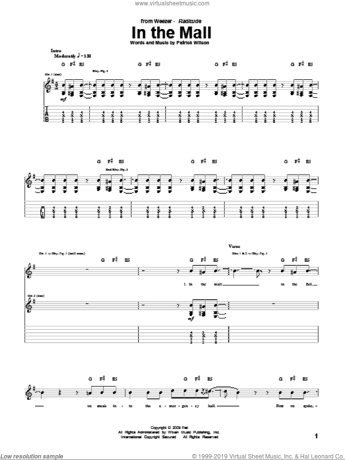 In The Mall sheet music for guitar (tablature) by Weezer and Patrick Wilson, intermediate