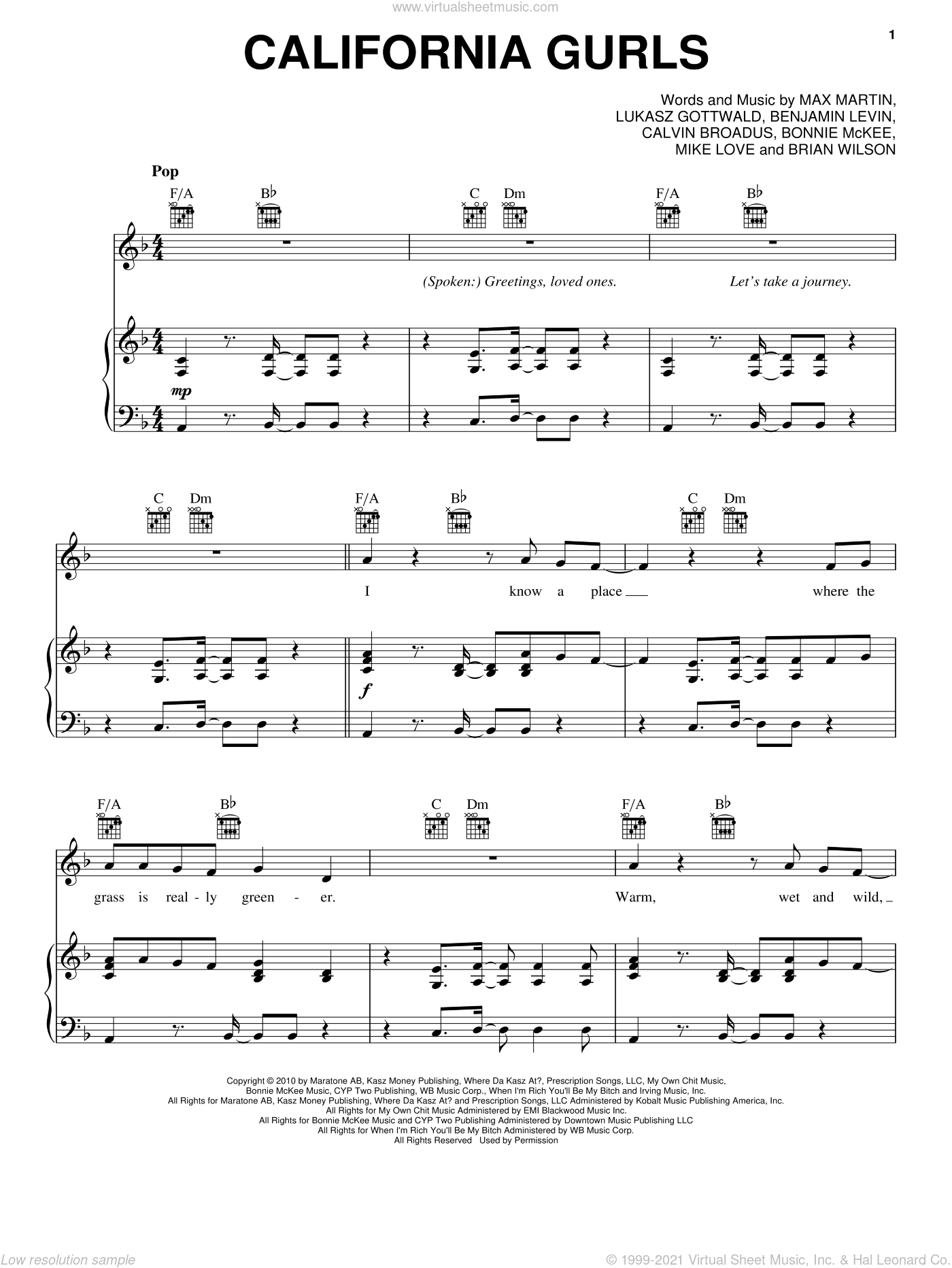 California Gurls sheet music for voice, piano or guitar by Max Martin, Bonnie McKee, Calvin Broadus, Katy Perry and Lukasz Gottwald. Score Image Preview.