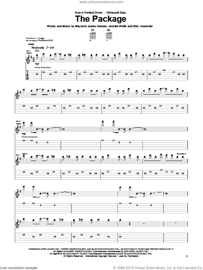 The Package sheet music for guitar (tablature) by A Perfect Circle, Billy Howerdel, Jeordie White and Maynard James Keenan, intermediate