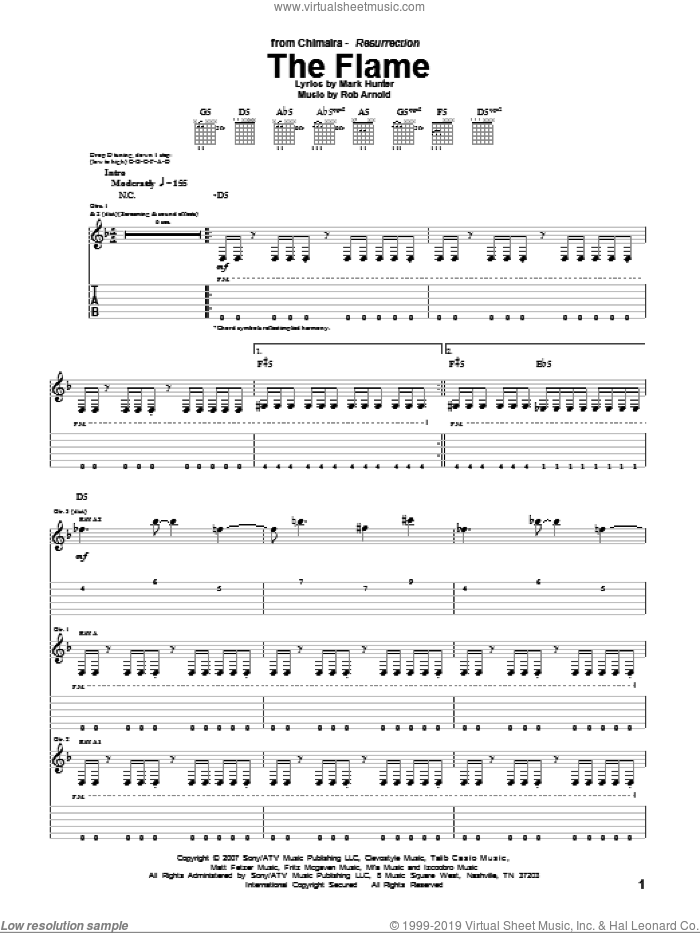 The Flame sheet music for guitar (tablature) by Chimaira, intermediate. Score Image Preview.