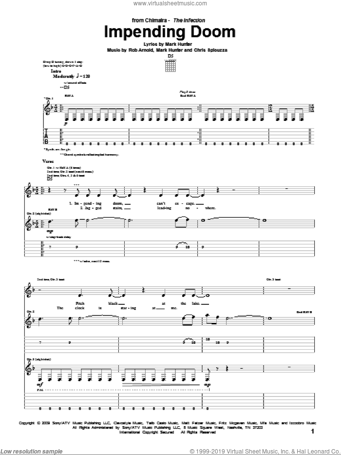 Impending Doom sheet music for guitar (tablature) by Chimaira, Chris Spicuzza, Mark Hunter and Rob Arnold, intermediate skill level
