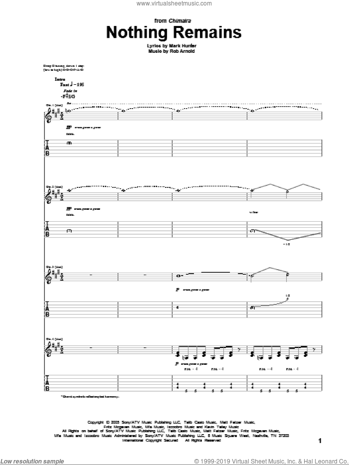 Nothing Remains sheet music for guitar (tablature) by Rob Arnold, Chimaira and Mark Hunter. Score Image Preview.