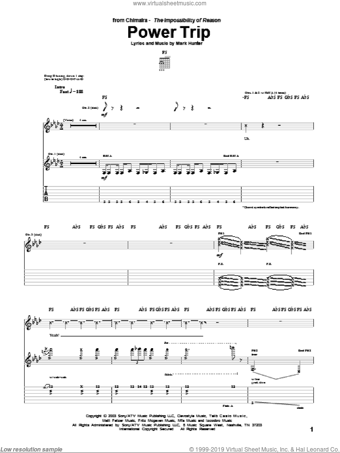 Power Trip sheet music for guitar (tablature) by Mark Hunter